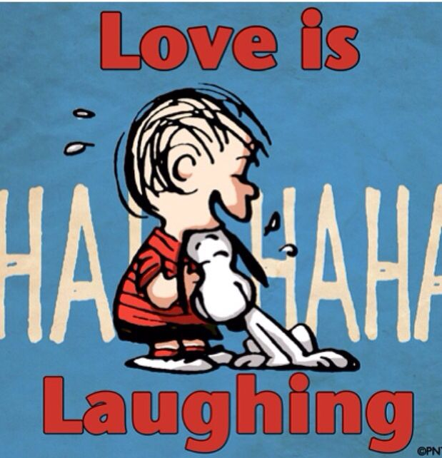 """""""Love is Laughing"""", Snoopy and Linus, Peanuts, Charlie Brown."""