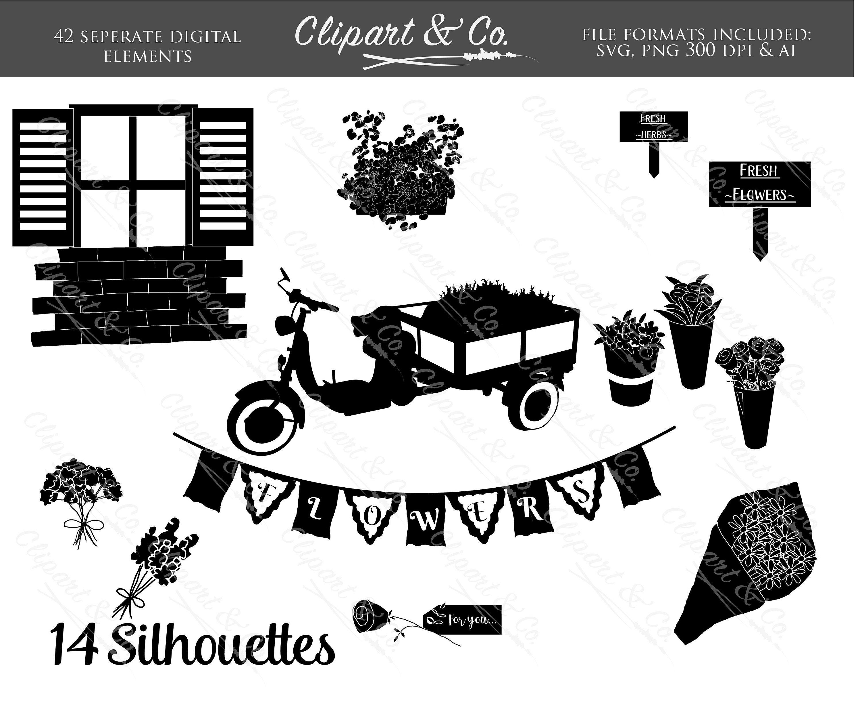 Floral Clipart Design Elements Vector Images Garden Clip Art