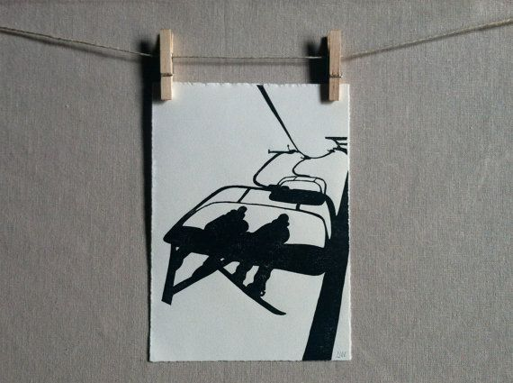 Ski Chairlift  Hand printed  Original by WoodenSpoonEditions, $30.00