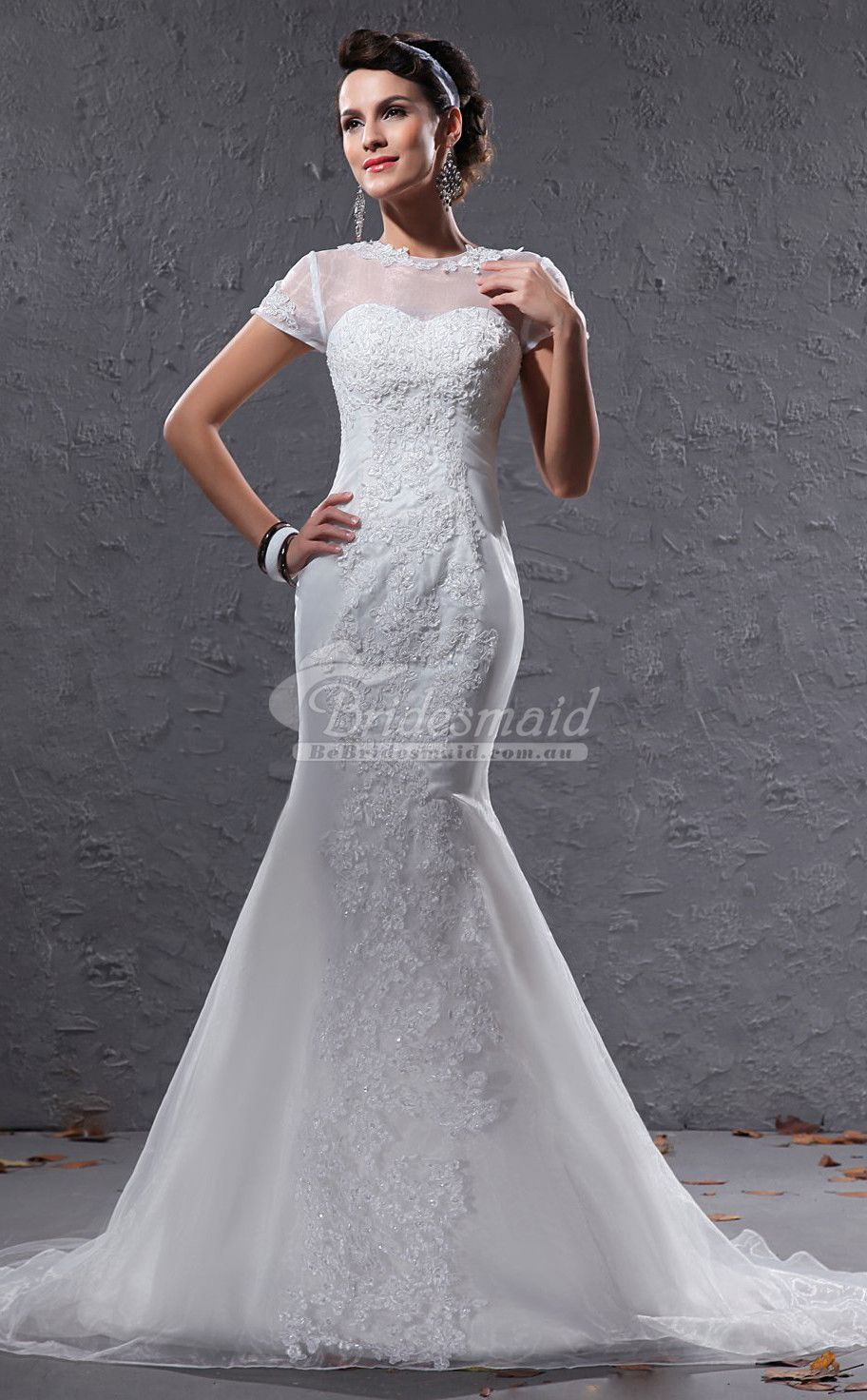 Modest illusion short sleeve ivory mermaid wedding dressescoupon