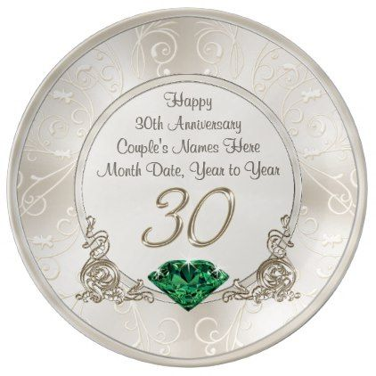 Personalized 30th wedding anniversary gift ideas plate negle Choice Image