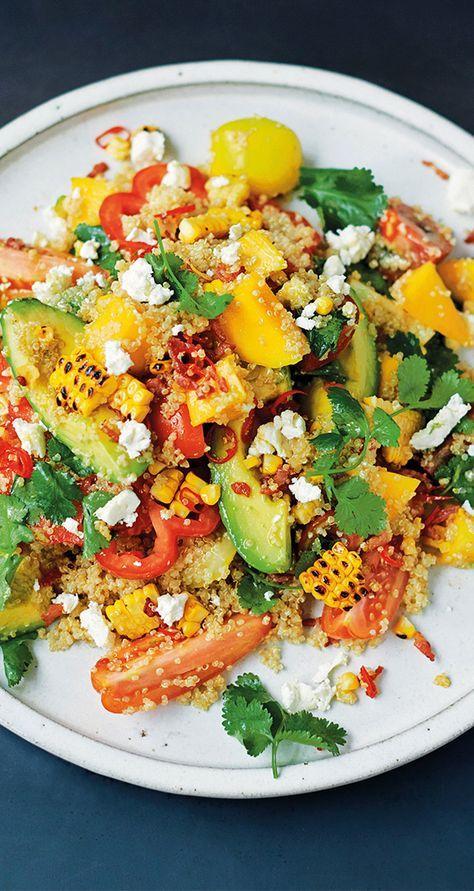 jamie's grilled corn & quinoa salad, mango, herbs, avo, feta
