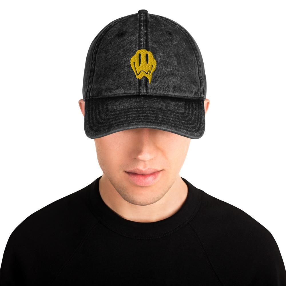 Everybody knows that dad caps are no longer just for dads, so get an embroidered cotton twill cap for yourself! This one's really special thanks to the intricate embroidery detail and the washed out vintage feel. • 100% cotton twill • 6-panel unstructured cap with a low profile • 6 sewn eyelets • Black sweatband Metal snap buckle with an antique brass finish