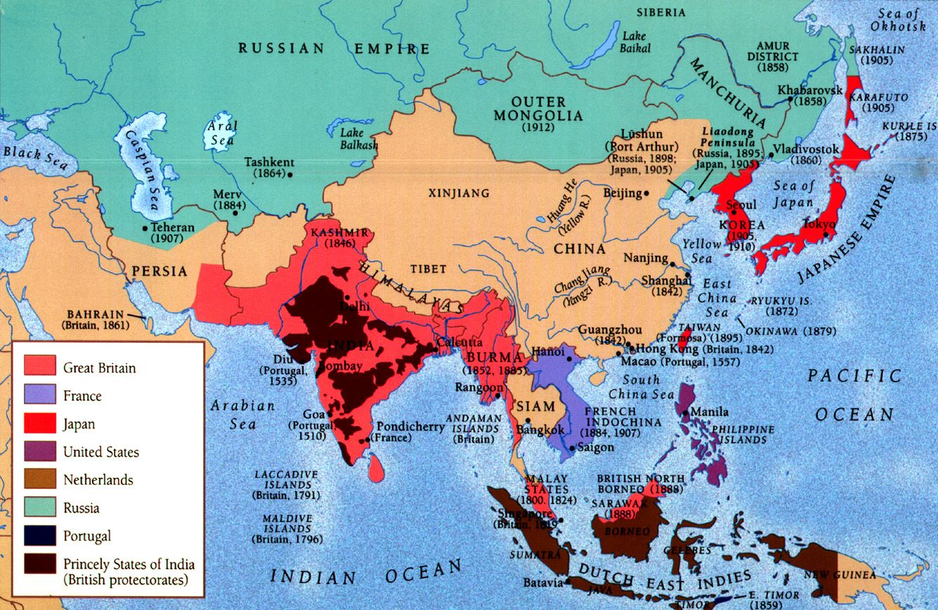 Map Of Asia During Imperialism.Colonial Asia Ap Euro Asia Map Map Colonial