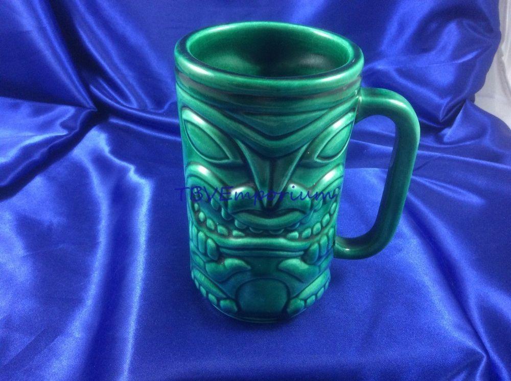 1960s Tildon Tiki Mug Canada Green BC Totem Ceramic