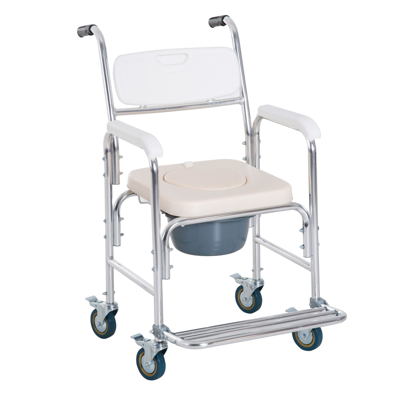 Homcom Personal Mobility Assist Waterproof Commode Shower Transport Medical Rolling Chair Mobility Medical Rolling Chair Shower Chair Shower Commode Chair Rolling Chair