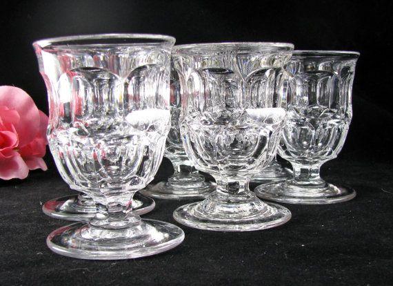 Early American Glass Antique Pedestal Egg Cups Ashburton Pattern 1850s Victorian Thumbprint Miniature Glass Goblets Set 6 & Pedestal Egg Cups Antique Ashburton Pattern Early American Glass ...