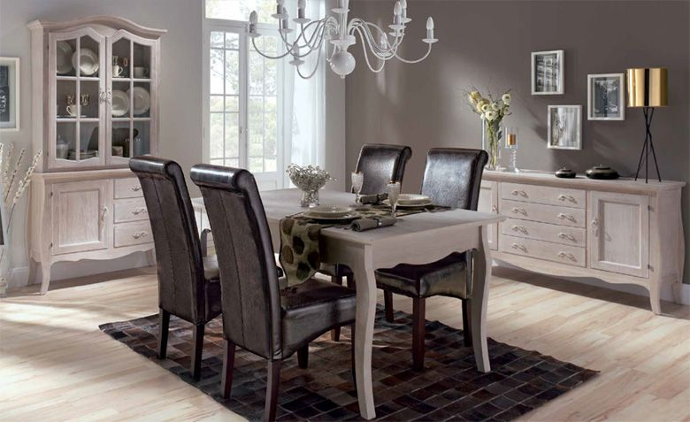 Conjunto muebles de comedor Madera de caoba con efecto decapado. 2 ...