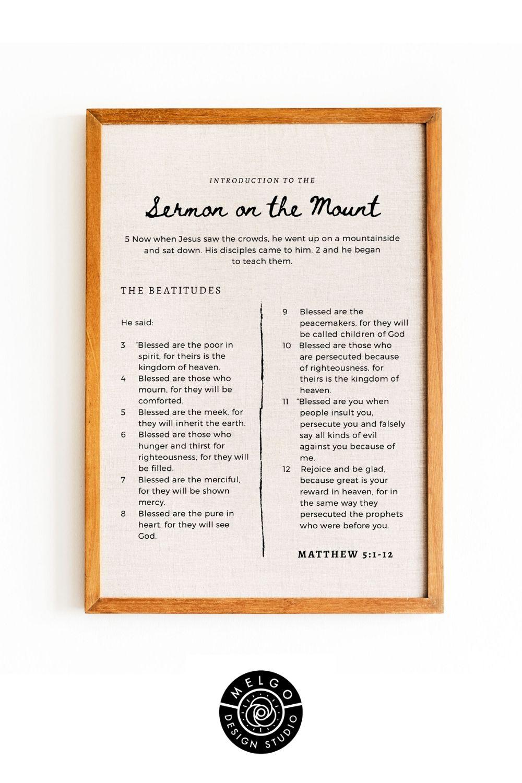 Sermon On The Mount Wall Art Printable Beatitude Etsy Introduction Of