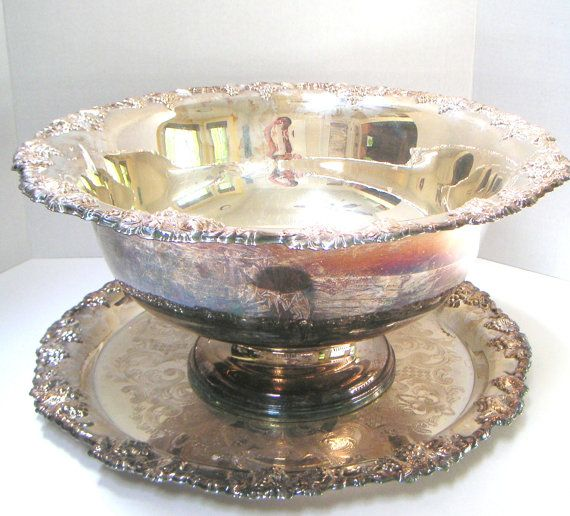 Vintage Wedding Gifts: Vintage Punch Bowl With Tray,Silverplate Newport By Gorham