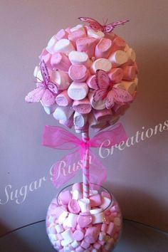 Large Marshmallow Sweet Tree planted in a glass bowl. Perfect as a wedding centrepiece or a unique gift.