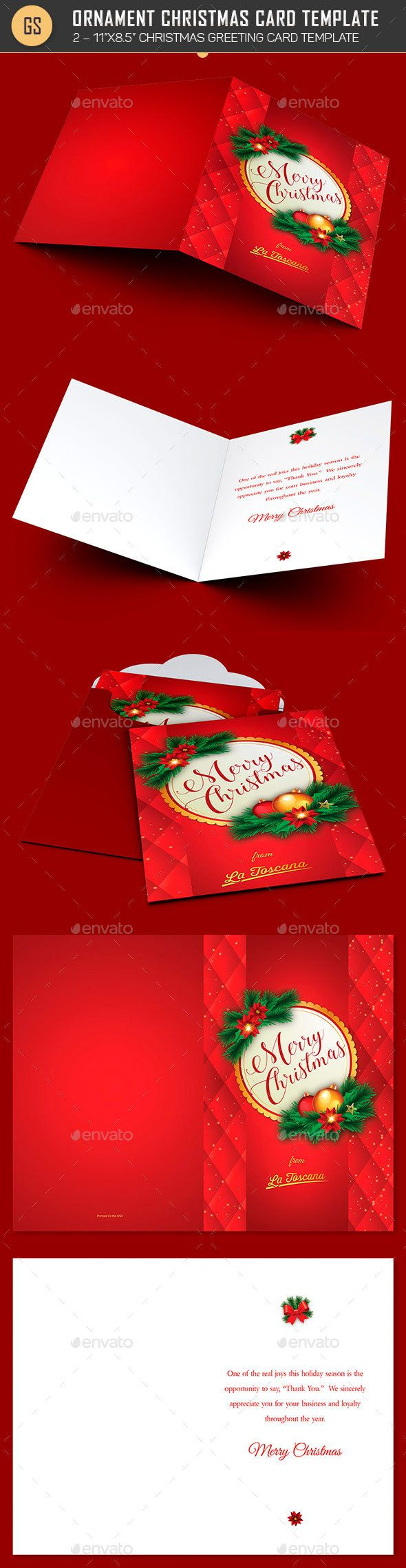 Red Ornament Christmas Card Template Christmas Card Templates