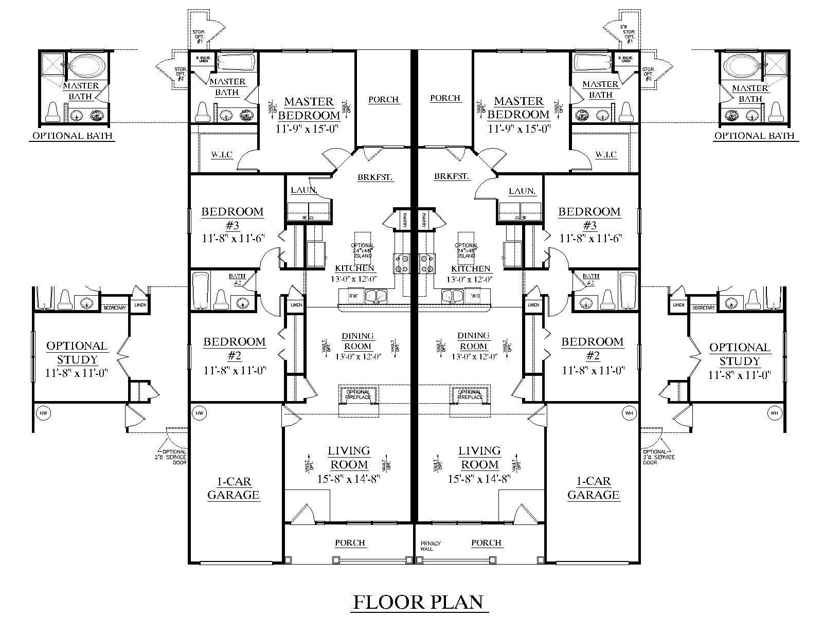 3 bedroom duplex floor plans duplex plan 1392 a [ 1600 x 1200 Pixel ]