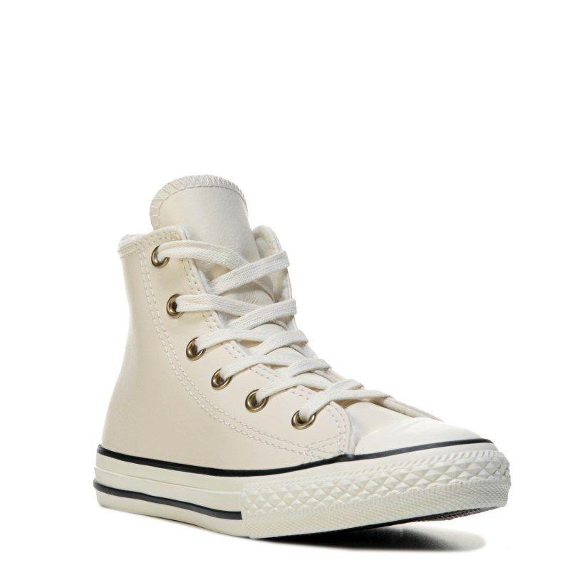 Kids Converse Leather Low Top Sneaker ParchmentBlack