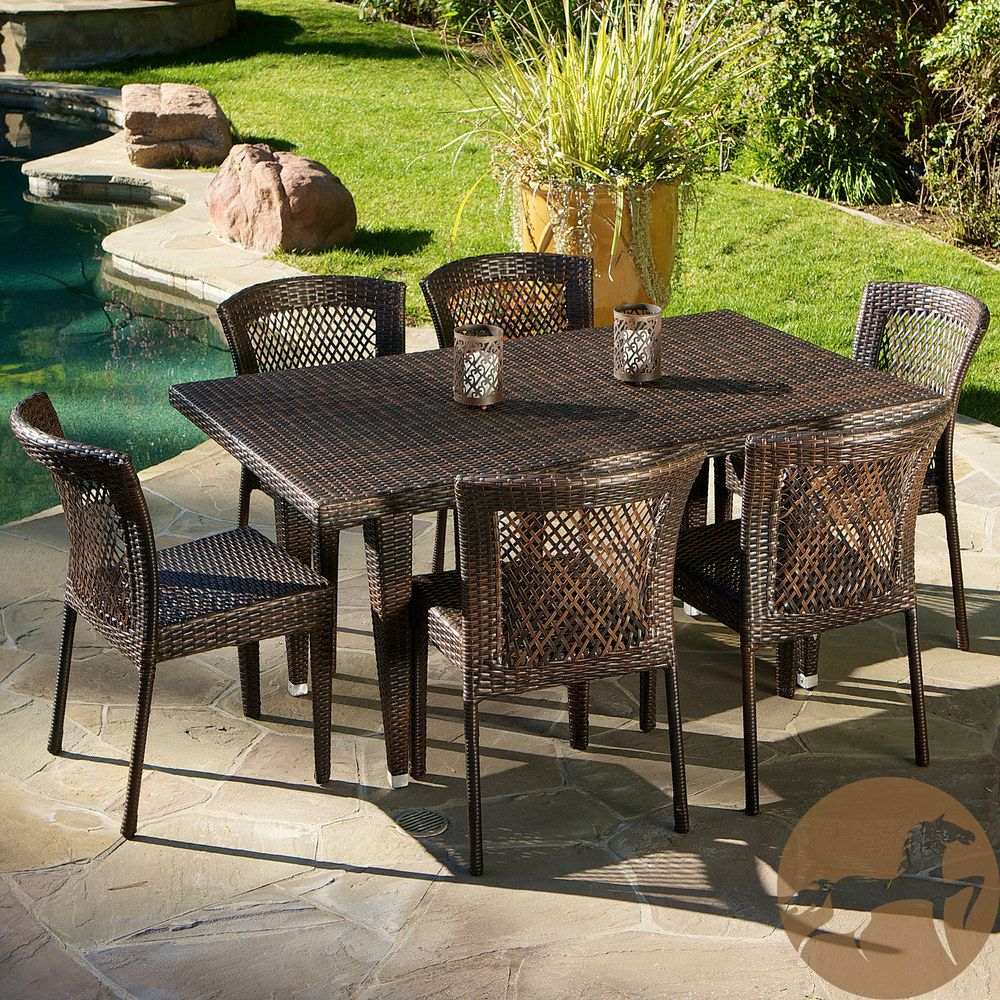 Christopher Knight Home Dusk 7 Piece Outdoor Dining Set Overstock