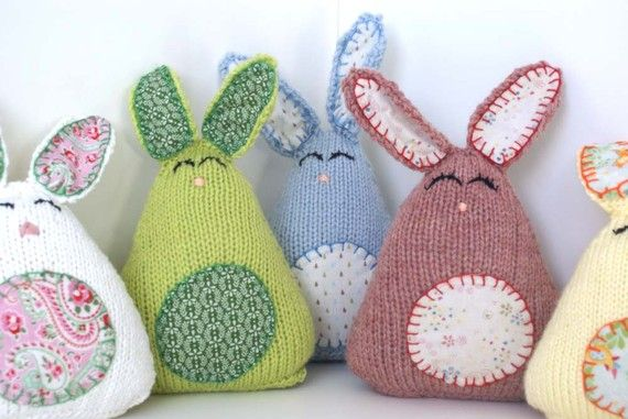 Knitting Easter Bunnies : Knitted yellow easter bunnies toys bunny