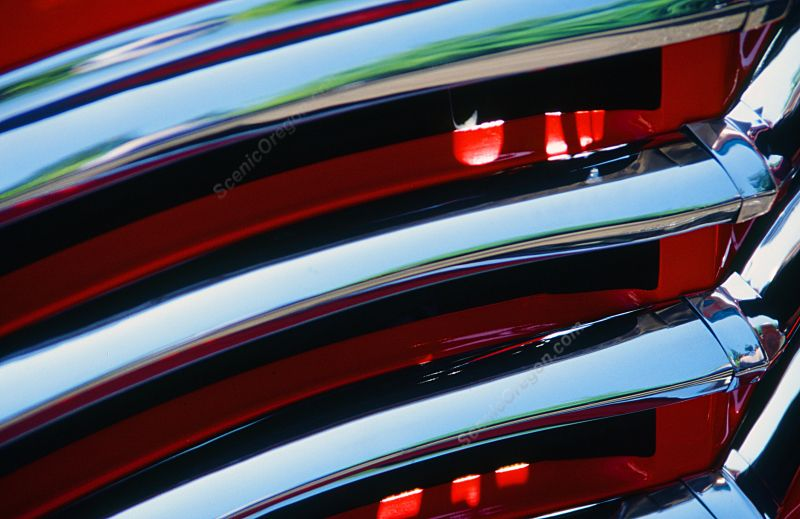 Classic Car Chrome Abstract Red Grill