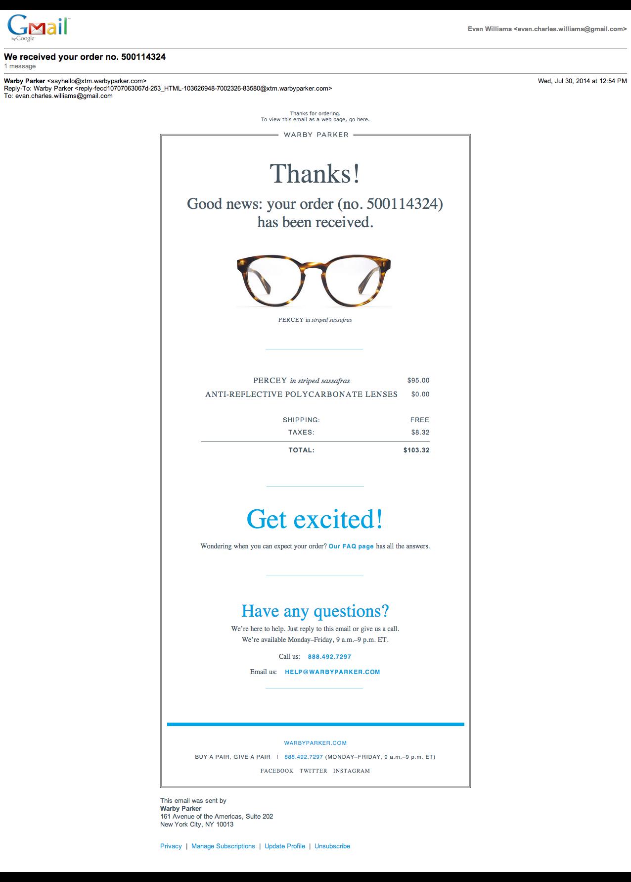 Warby Parker  Order Confirmation    Warby Parker