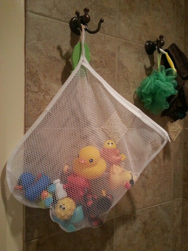 Bath toy collector...delicates laundry bag from drug store. Cheap ...