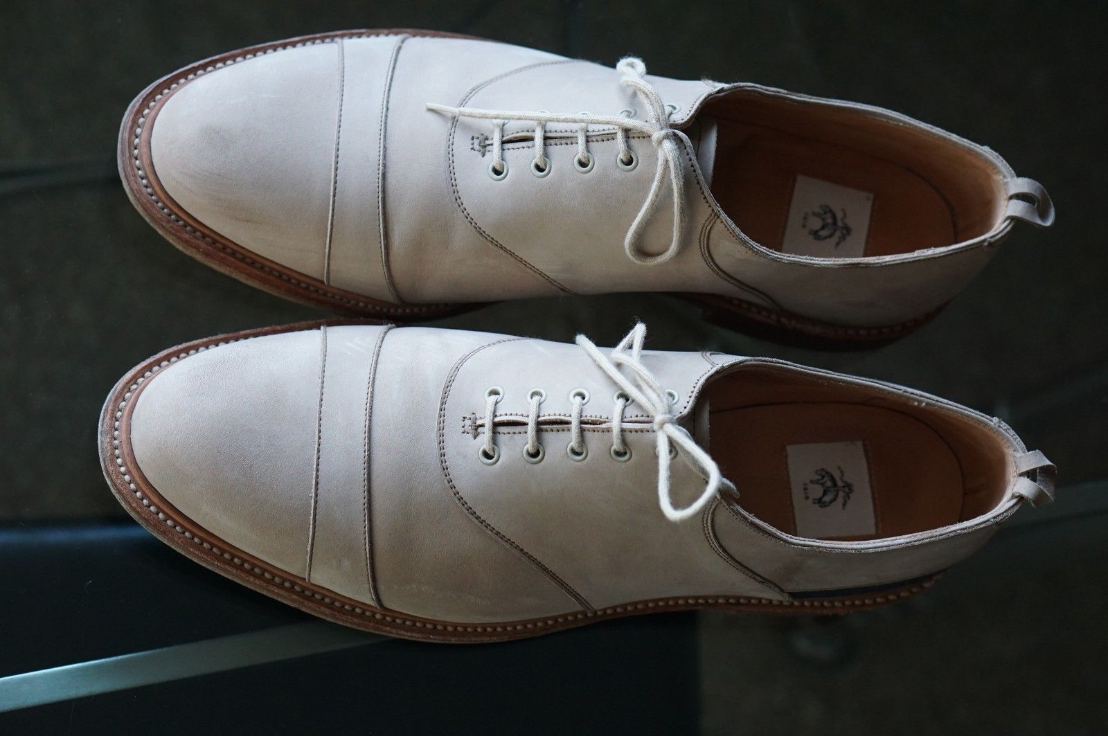 For your consideration a used pair of Crockett and Jones Captoe balmorals  for the Thom Browne designed Brooks Brothers Black Fleece line.