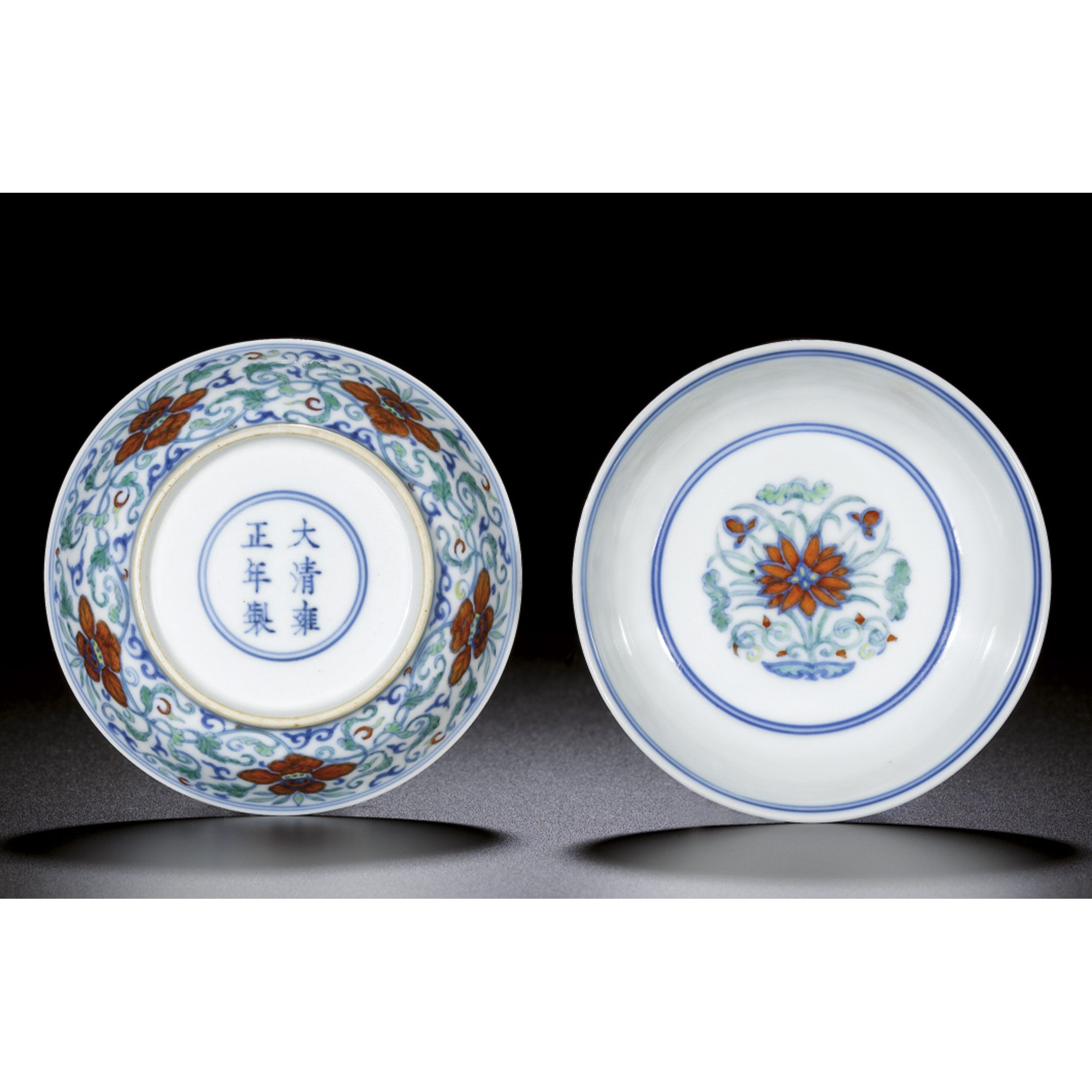A Fine Pair Of Doucai Saucer Dishes China Marks And Period Of Yongzheng 1723 1735 Chinese Works Of Art Chinese Ceramics Porcelain Ceramics Fine Porcelain