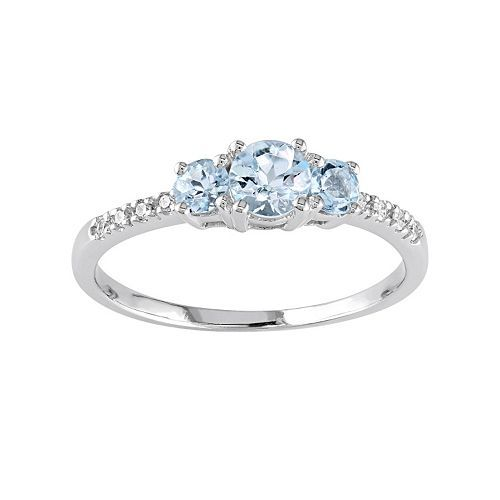 10k White Gold Aquamarine Diamond Accent 3 Stone Ring 3 Stone Rings White Gold White Gold Rings