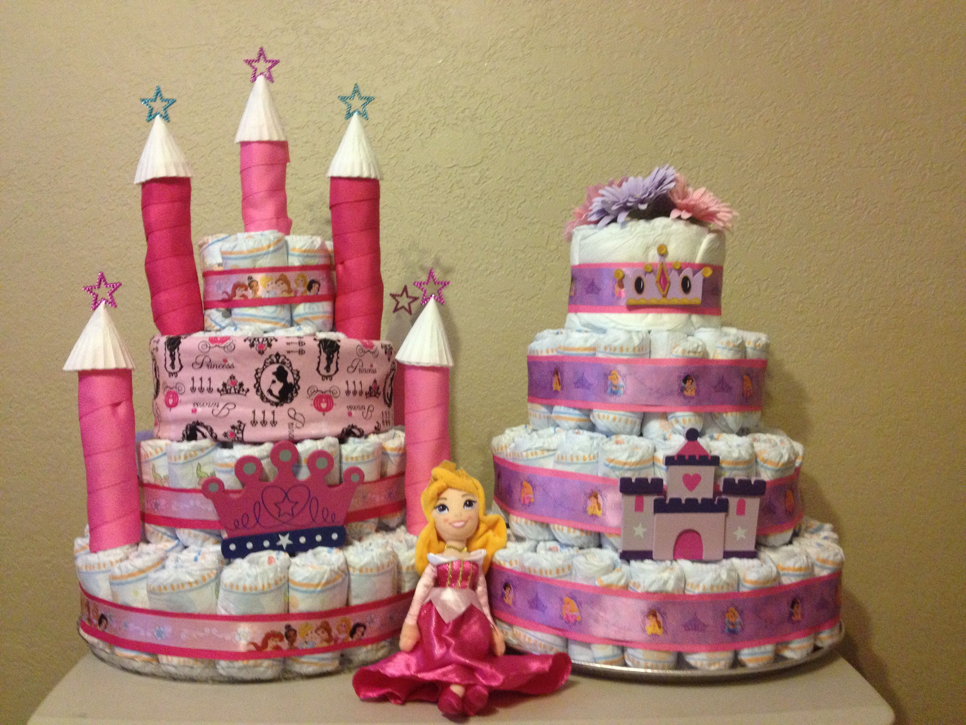 Awesome Princess Baby Showers · Here Are The Two Diaper Cakes I Made For My Niece  U0027s Disney Princess Themed