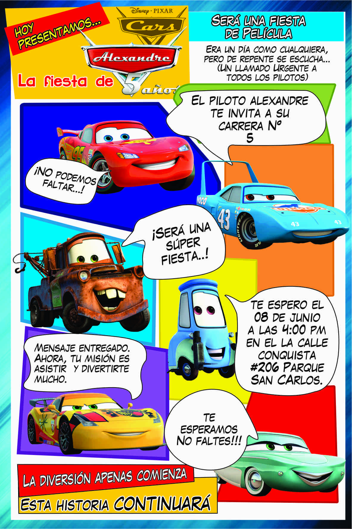 Tarjeta Invitación Cars Frosted Flakes Cereal Box