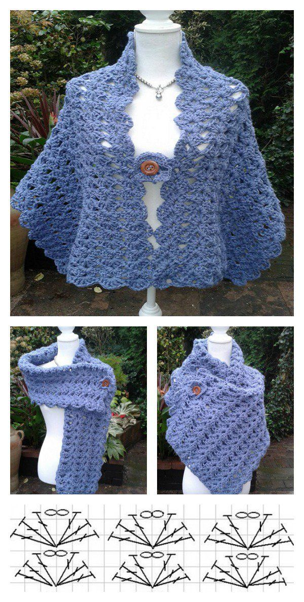 Simple Crochet Lacy Shell Stitch Shawl Free Pattern for Beginner ...