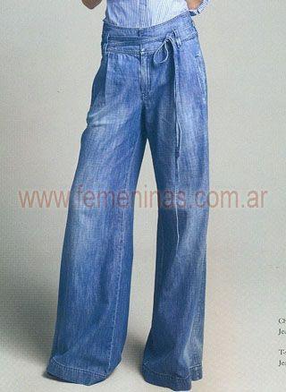 Pantalon Jean Gastado Ancho Oxford Cintura Alta Con Lazo Ropa Pantalones Moda
