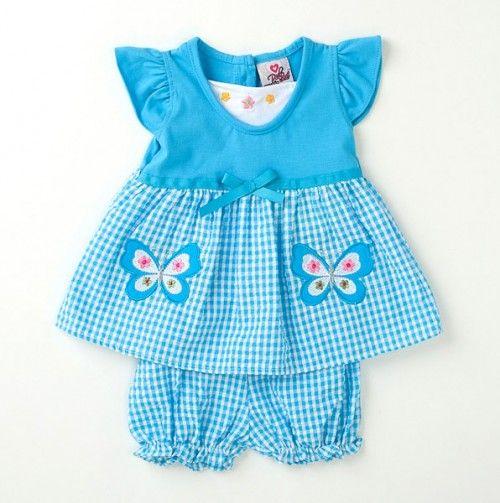 Newborn Butterfly Seersucker Dress.