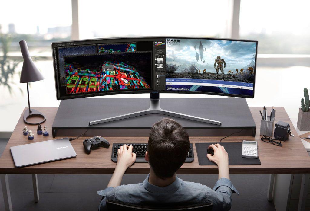 Scrivania Da Gaming.Samsung Chg90 Qled Gaming Monitor Gaming Setup Pinterest
