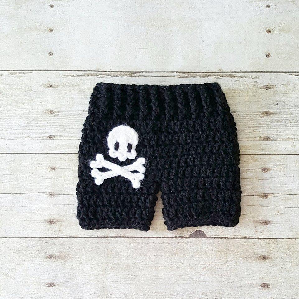 1e328cc8a Crochet Baby Pirate Hat Beanie Shorts Diaper Cover Pants Set ...