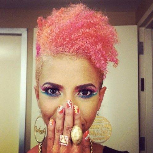 pink natural hair afro | pink orange dyed african american ...
