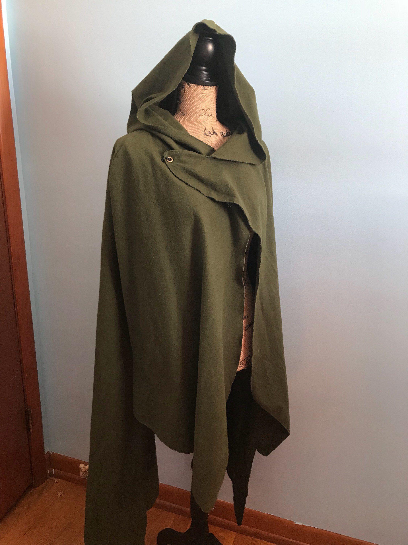 MEDIEVAL FANTASY VIKING ELVEN Men Women Green Black Brown HOODED CAPE CLOAK New