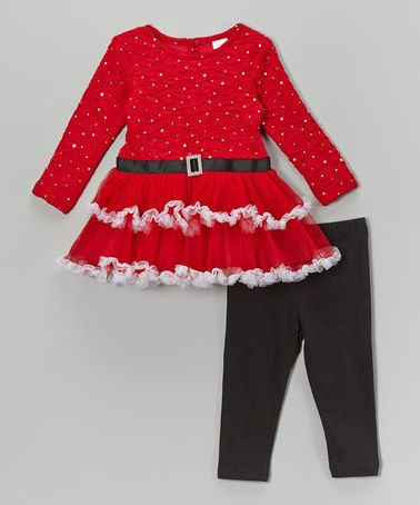 d98211038 Sweet Christmas outfit for girls. Look what I found on #zulily! Red Santa  Ruffle Tunic & Black Leggings - Infant, Toddler & Girls by Youngland  #zulilyfinds
