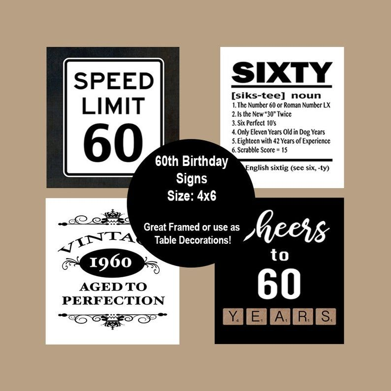 60th birthday printable table party signs 60th party