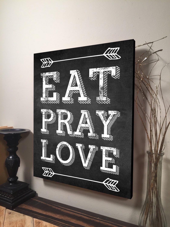 Eat pray love digital printed wood pallet design on wood rustic wall