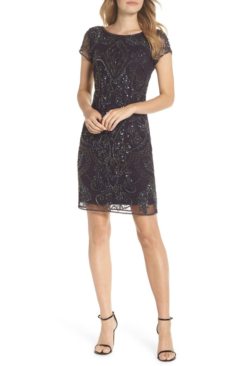 Glittering beads and sequins embellish a fitted cocktail sheath of airy mesh  with a demure jewel neck and cap sleeves. Free shipping ... 9e6201356121