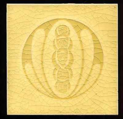 Art Nouveau original period majolica tile group of roses bibrant yellow ocher