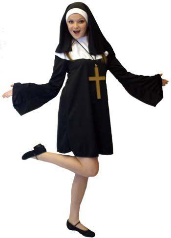 Fab Funny Hen Night Short Y Religious Nun Fancy Dress Costume Size 16 18