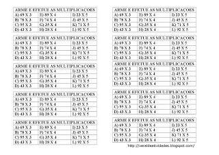Varal De Atividades Multiplicacao P 3 4 E 5 Atividades De