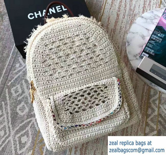 Chanel Crochet Braid Cayo Coco Backpack Bag A93681 White Cruise 2017 ...
