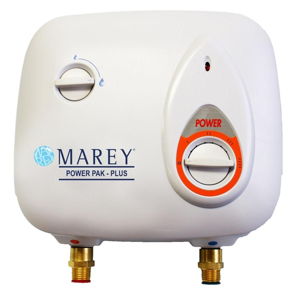 Marey 2 0 Gpm Electric Tankless Water Heater Power Pack 220 Volt Ppxe5 The Home Depot Electric Water Heater Tankless Water Heater Water Heater