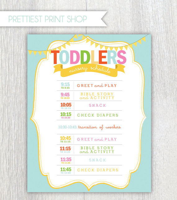 Printable nursery or classroom schedule Daycare Church