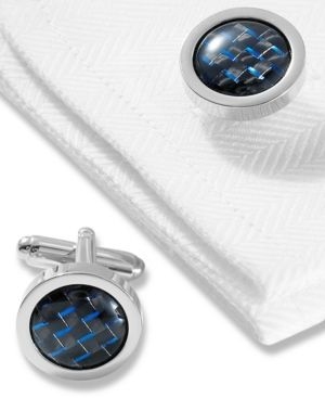 Geoffrey Beene Cufflinks, Polished Rhodium round With Black and Blue Carbon Center Boxed Set - Blue