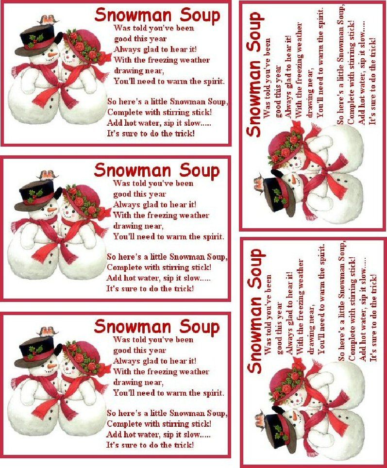 It's just an image of Superb Free Snowman Soup Labels