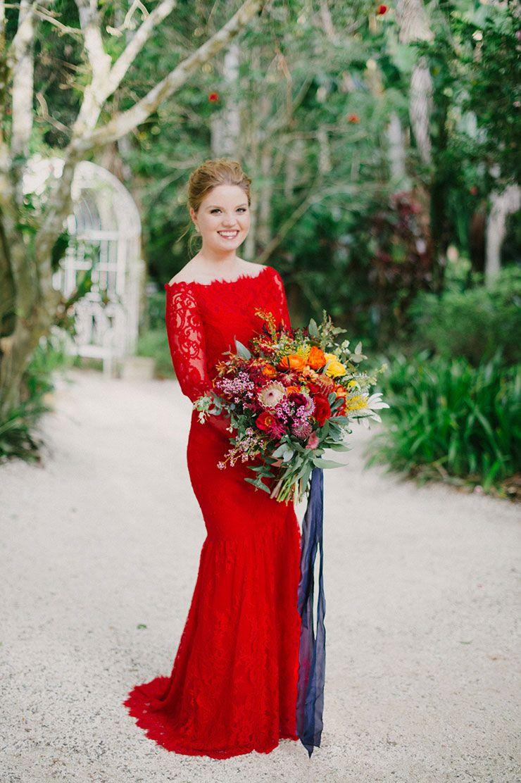 Hannah Nick S Colourful Outdoor Garden Wedding Red Wedding Dresses Red Lace Wedding Dress Red Bridal Gown [ 1112 x 740 Pixel ]