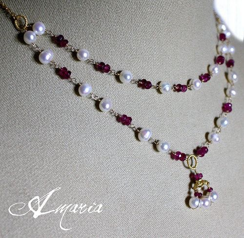 Pink tourmaline and pearl necklace by Amaria #boebot #handmadebot #etsybot
