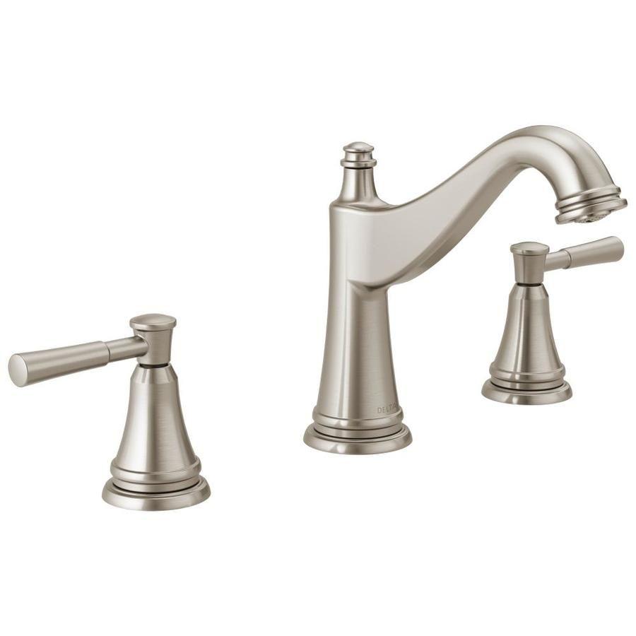 Delta Mylan Spotshield Brushed Nickel 2 Handle Widespread Watersense Bathroom Sink Faucet With Drain Lowes Com Delta Faucets Bathroom Faucets Widespread Bathroom Faucet [ 900 x 900 Pixel ]